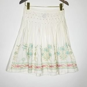 Rampage Floral Beaded Pleated Skirt White Size 3